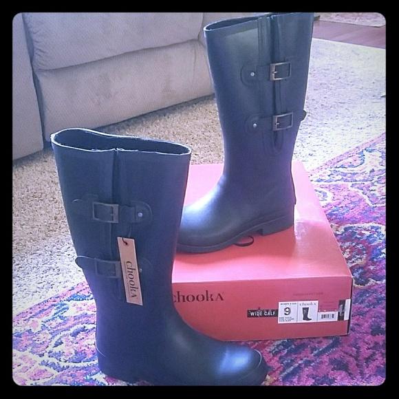 Chooka Wide Calf Rain Boots Nwt Never